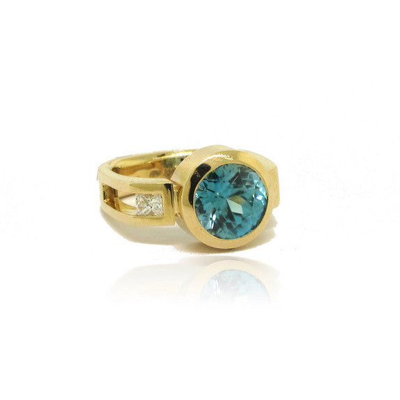 14K Yellow Gold Blue Zircon and Diamond Ring