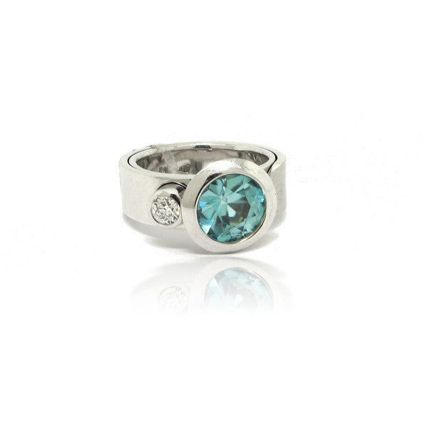 14K W/G Blue Zircon and Diamond Ring