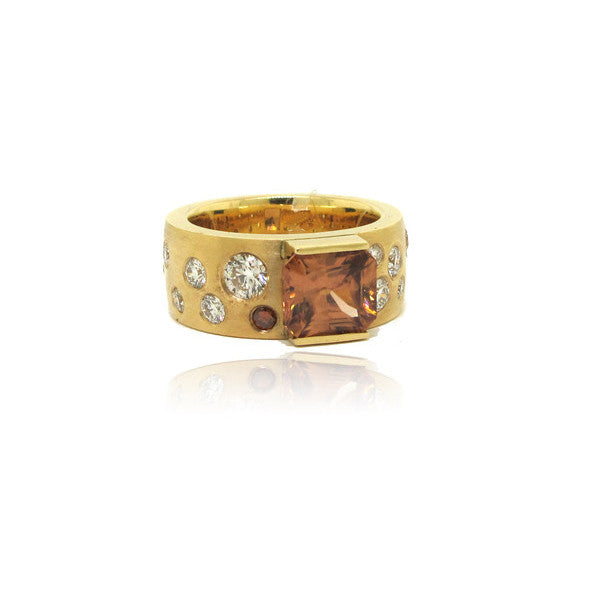 14K Yellow Gold Zircon and Diamond Ring