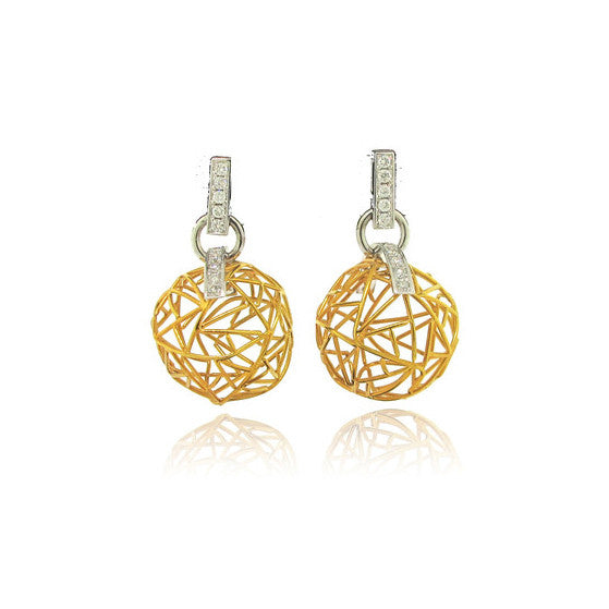 Diamond and Yellow Gold Mesh Earring
