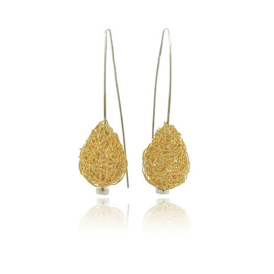18k Yellow and White Gold Wire Earring