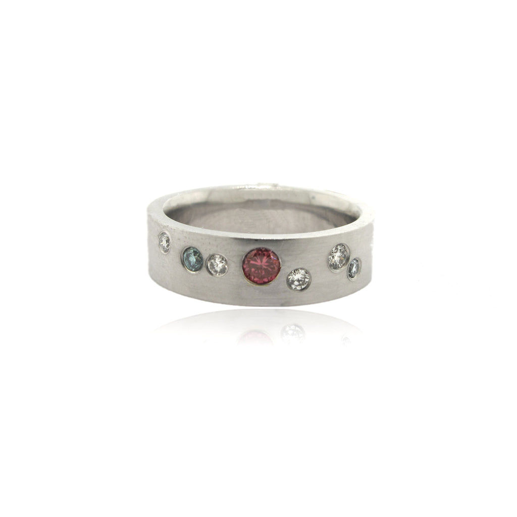 14k White Gold Pink, Blue and Clear Diamond Ring