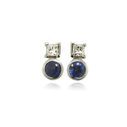 14k White Gold Blue Sapphire and Diamond Earrings