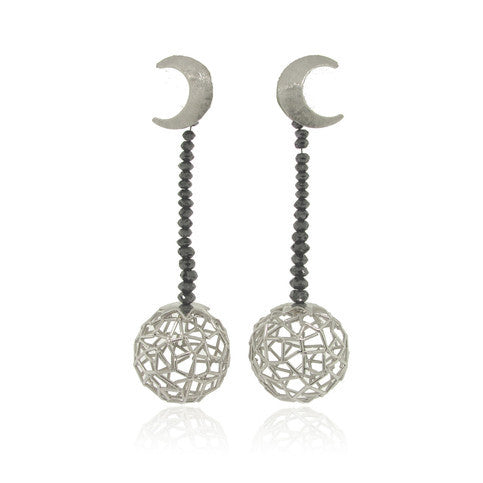14k WHite Gold and Diamond Celestial Earrings