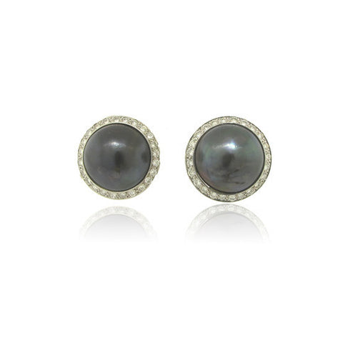 Platinum Tahitian Mabe Pearl and Diamond Earrings