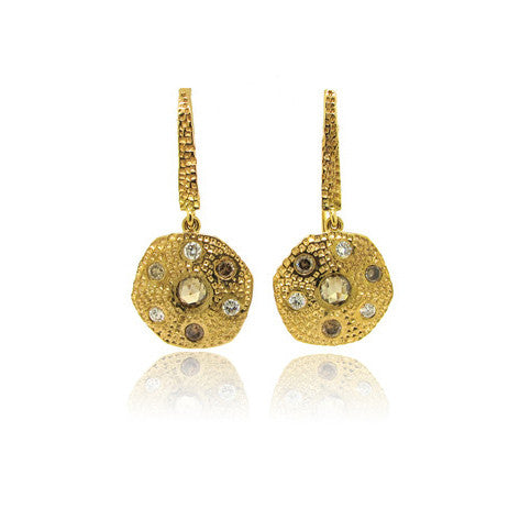 14k Yellow Gold Etruscan Diamond Earrings
