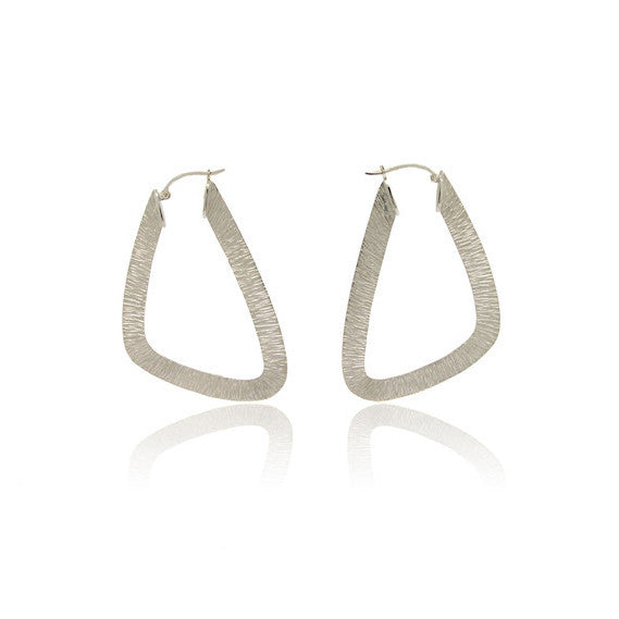 14k White Gold Hand Made Geometric Earring