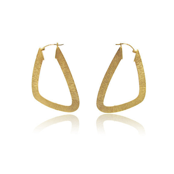 14k Yellow Gold Textured Geometric Earrings