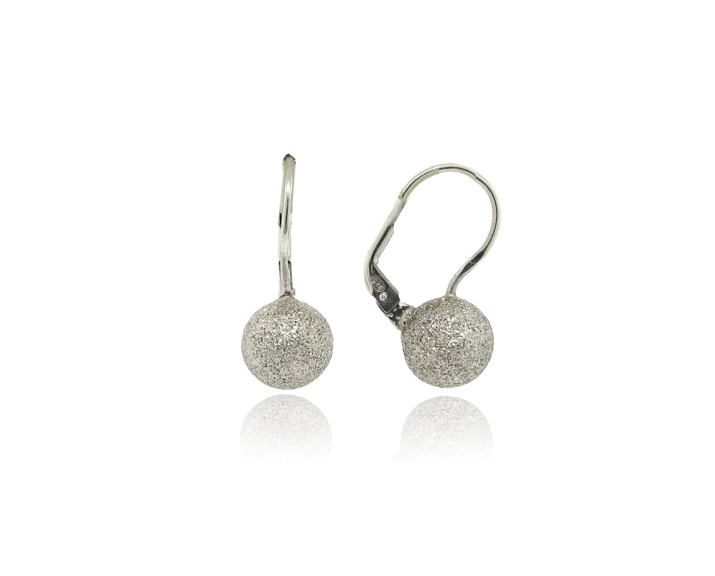 Sterling Silver Textured Sphere Earring