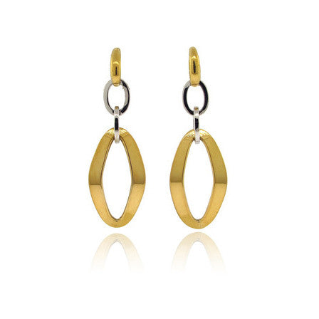 18k White and Yellow Gold Oval Earrings