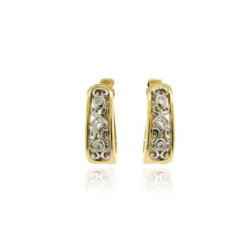 14k White and Yellow Gold Diamond Scroll Earrings