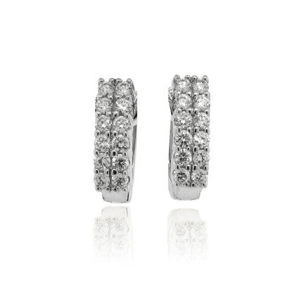 14k White Gold Shared Claw Diamond Earrings