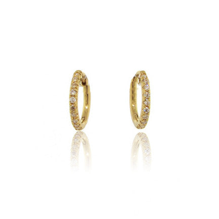 18k Yellow Gold Mini Hoop Diamond Earrings