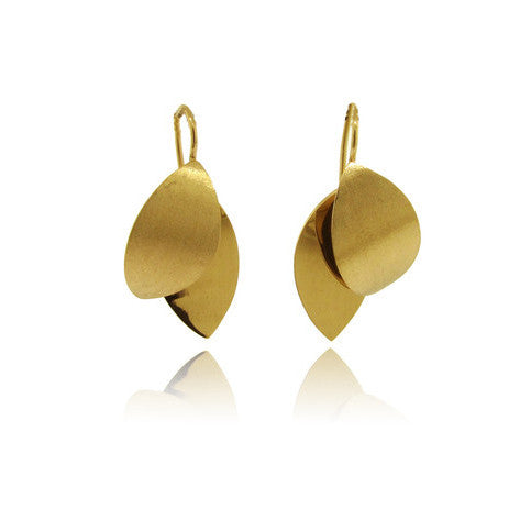 14k Yellow Gold Double Leaf Earring