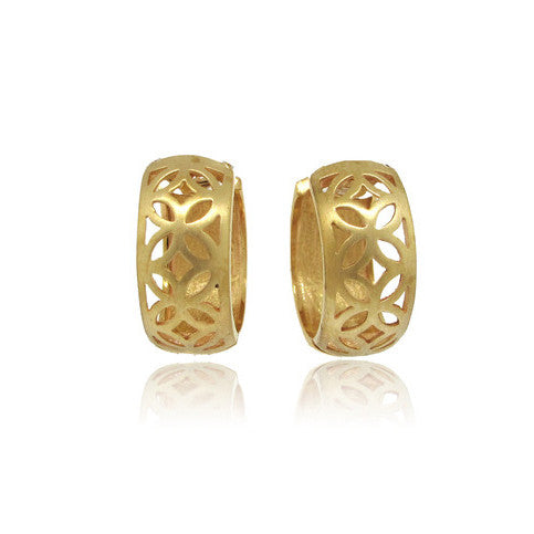 14k Yellow Gold Cut-out Earring