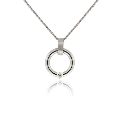 Tension Set Circular Diamond Pendant