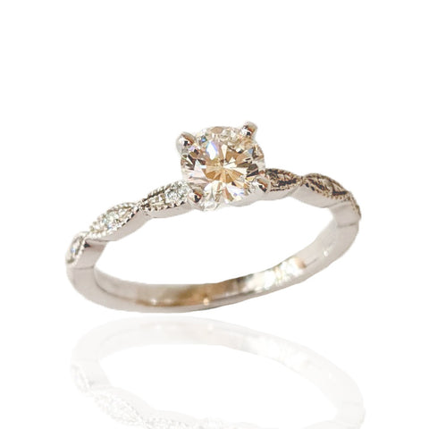 14K W/G Diamond Ring with Milgrain