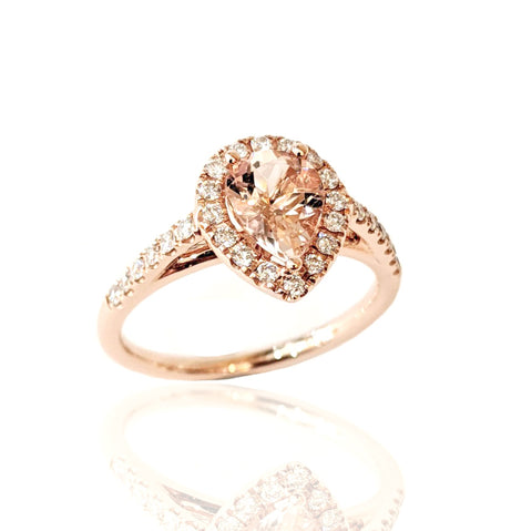 14K R/G Pear Shaped Morganite and Diamond Ring
