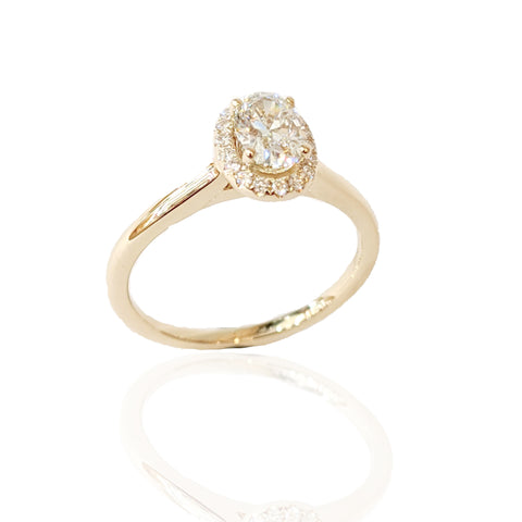 14K  Y/G Oval Lab Grown Diamond Halo Engagement Ring