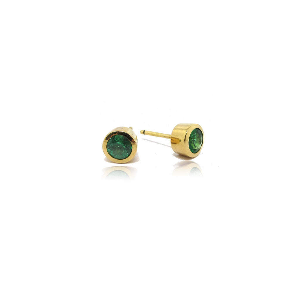 18k Yellow Gold Emerald Stud Earrings