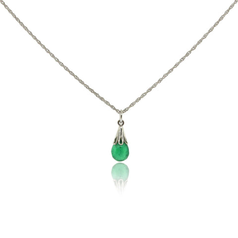 14k Drop Emerald Pendant