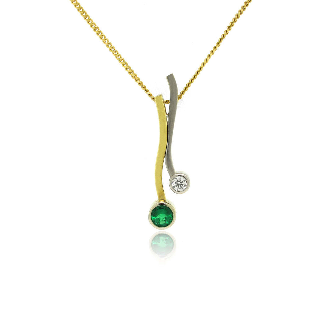 18k Yellow and White Gold Emerald Pendant