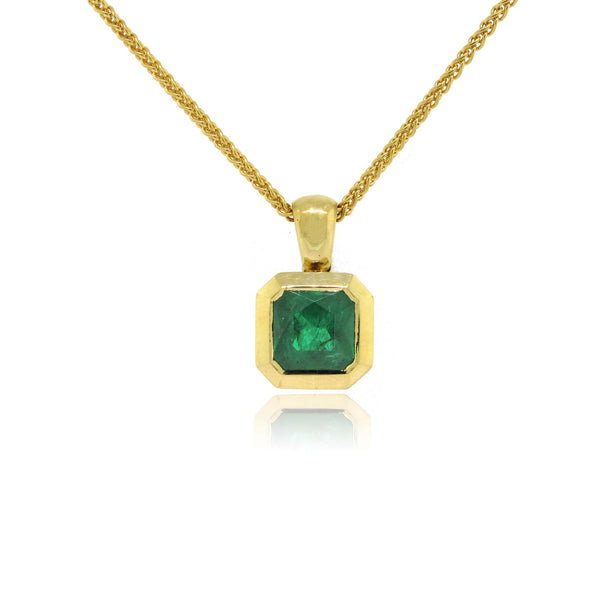 18k Yellow Gold Emerald Pendant