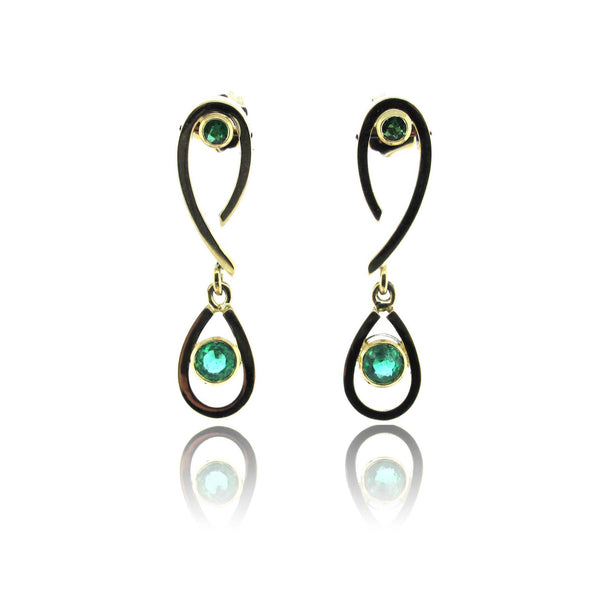 14k Yellow Gold Emerald Earrings