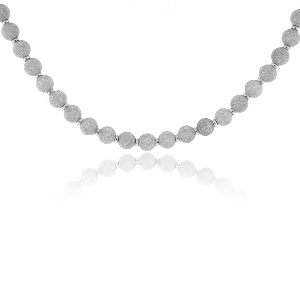 Sterling Silver Diamond Point Sphere Necklace