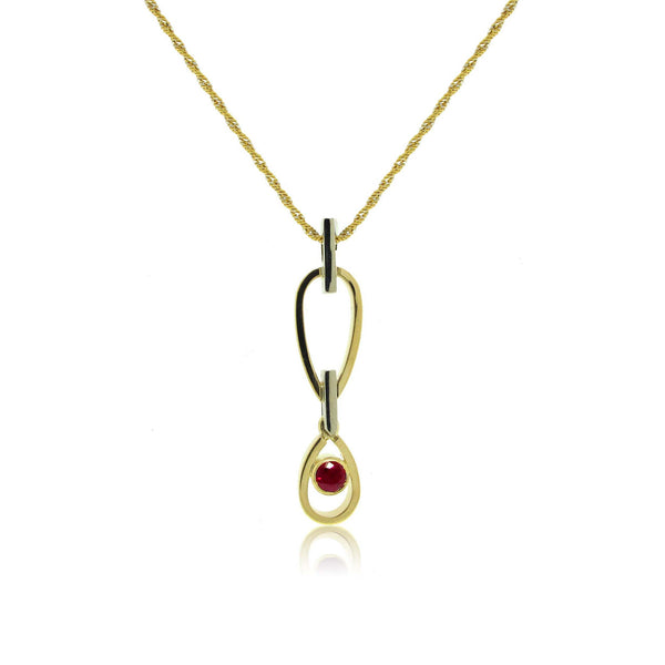 18k Yellow and White gold Ruby Pendant