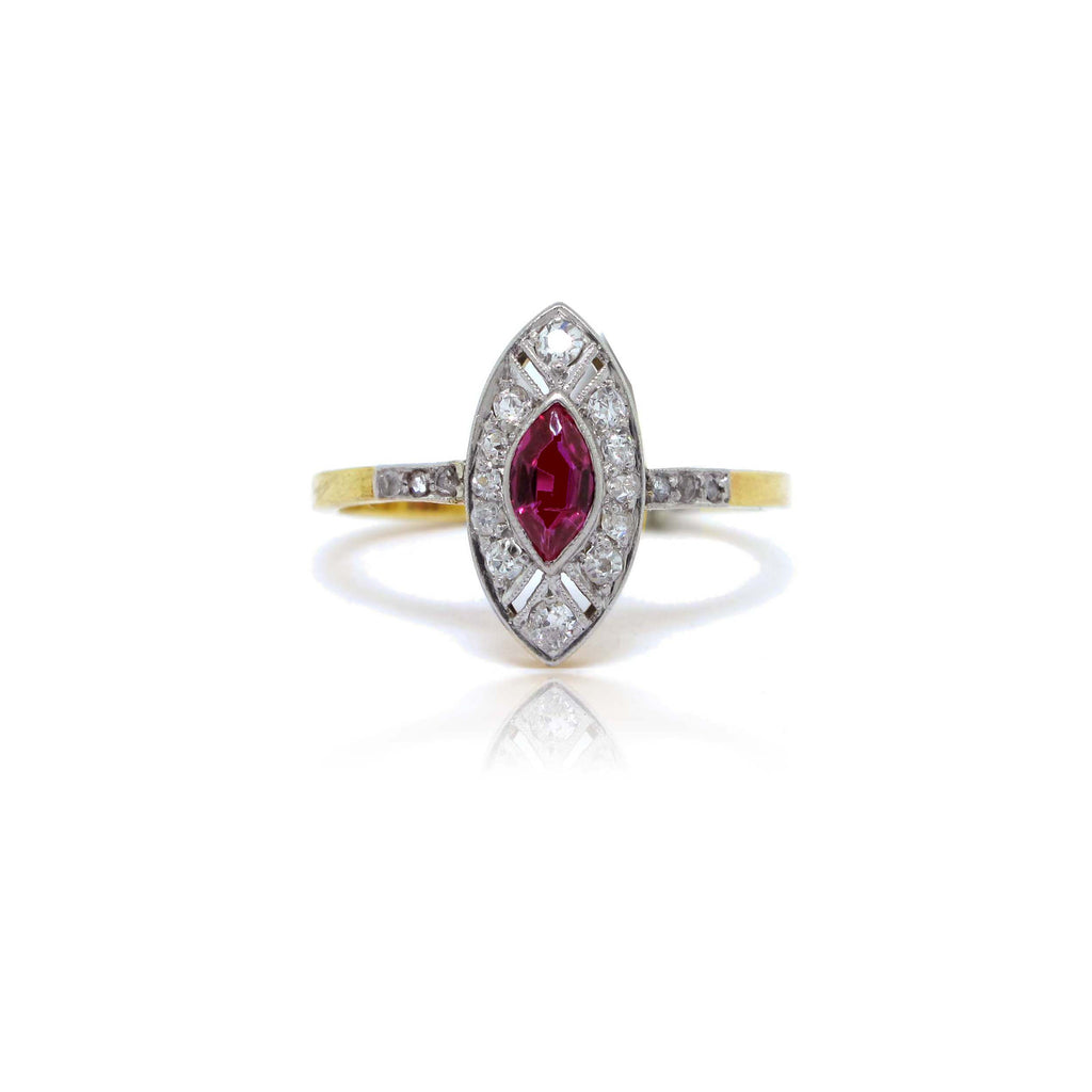 1940's 18k White and Yellow Gold Ruby and Diamond Ring