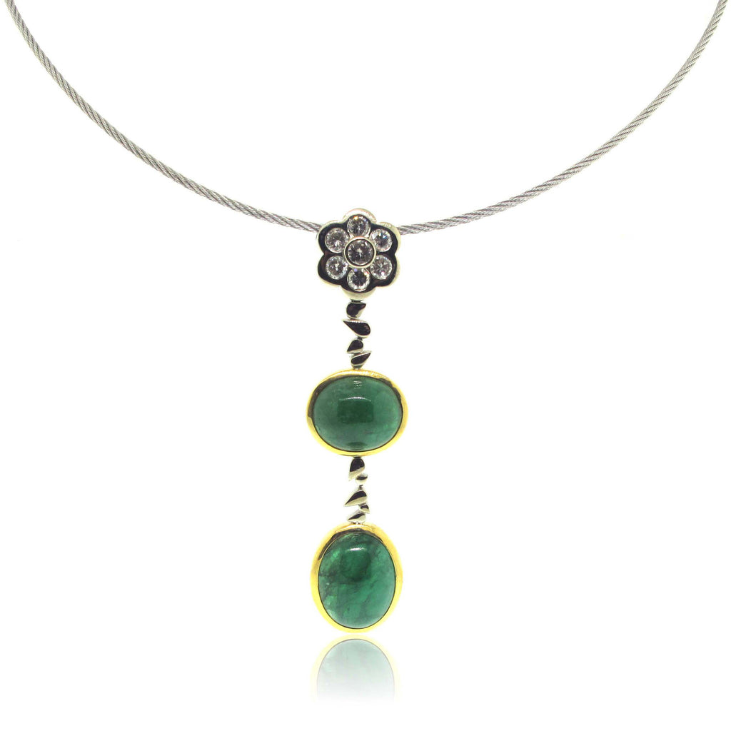 18k White and Yellow Gold Emerald and Diamond Pendant