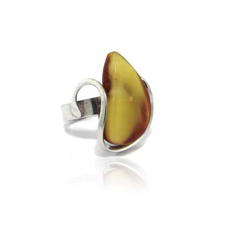Sterling Silver Amber Drop Ring