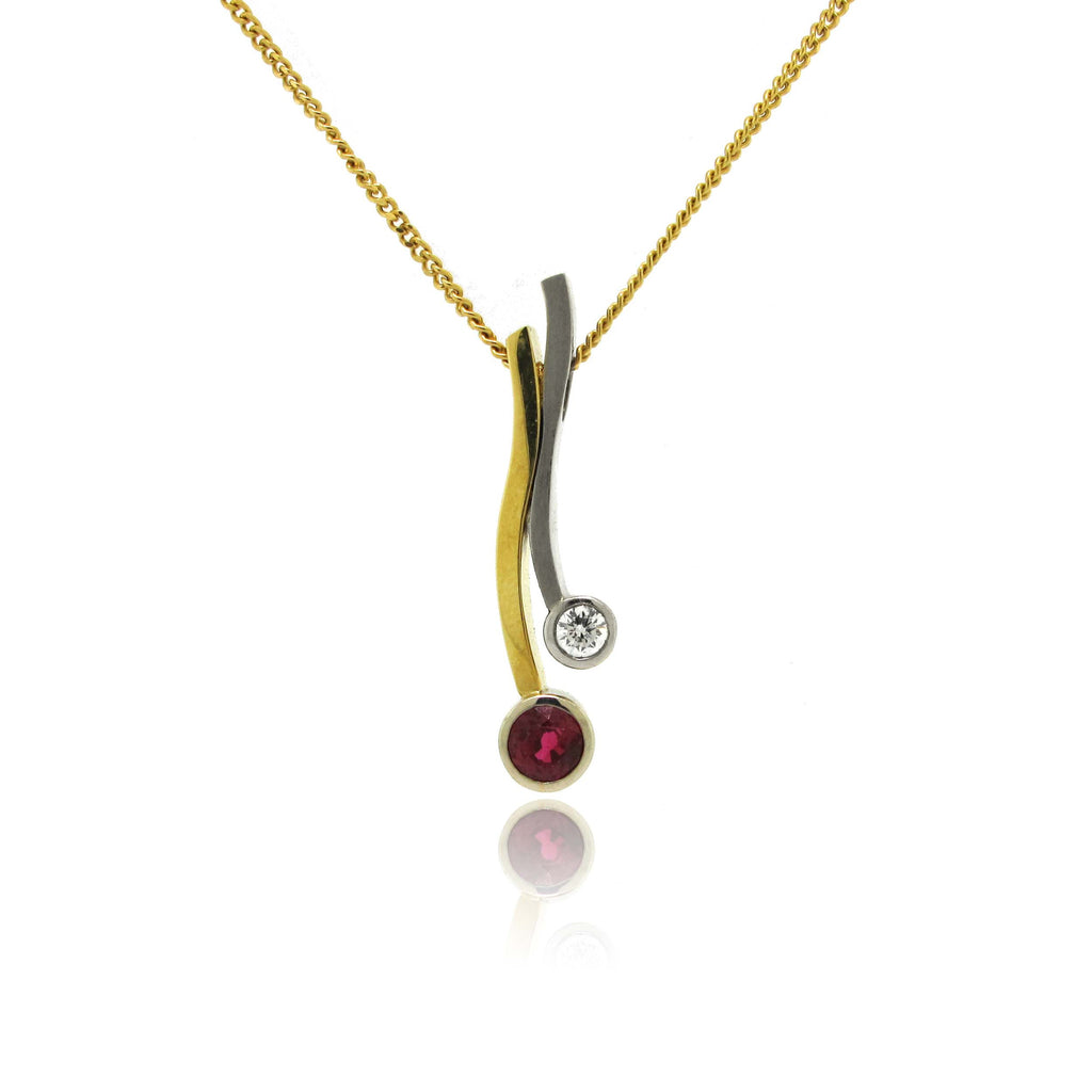 18k White and Yellow Gold Diamond and Ruby Pendant