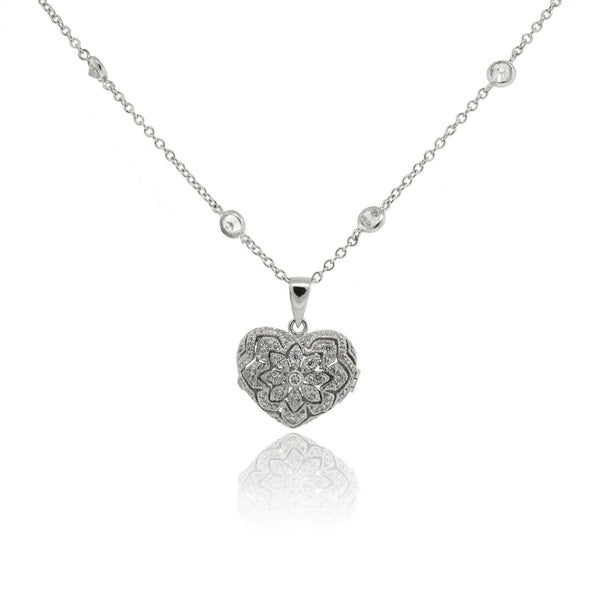 Sterling Silver and Cubic Zirconia Locket