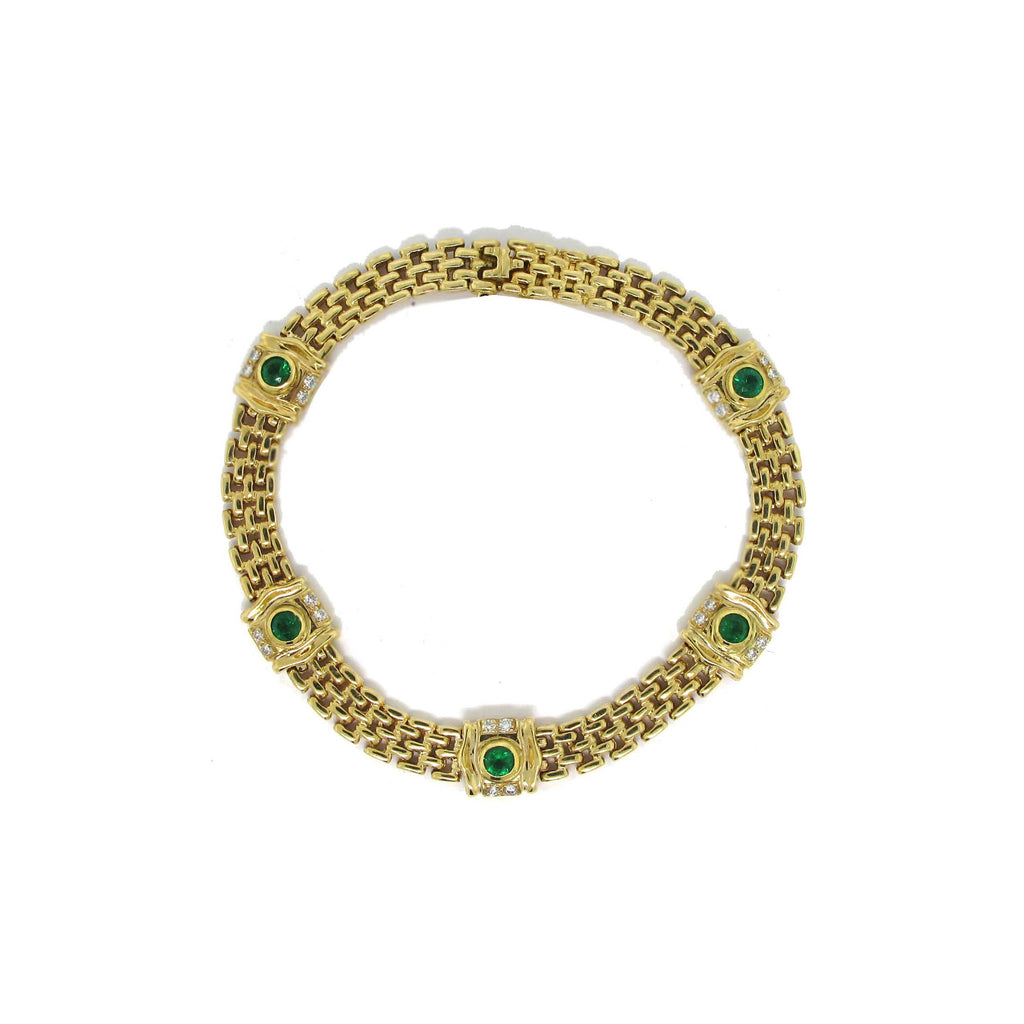 14k Yellow Emerald Bracelet
