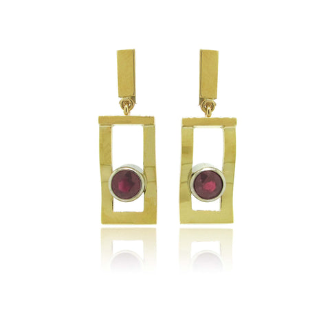 18k Yellow and White Gold Ruby Earrings