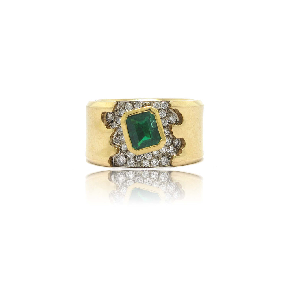 14k Yellow Gold Emerald and Diamond Frost Ring