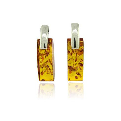 Amber Square Silver Drop Earrings