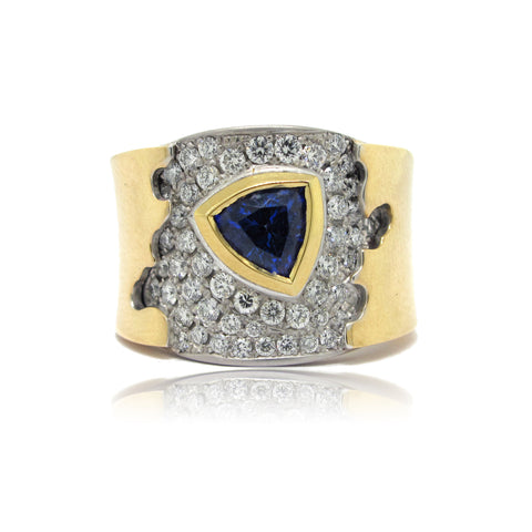 14K Y/W Gold Blue Sapphire and Diamond Ring