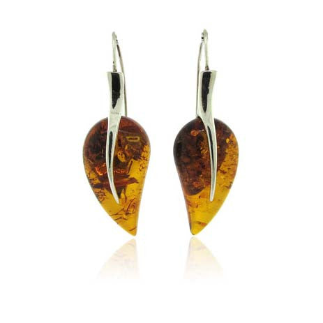 Sterling Silver and Amber Leaf Drop Earrings
