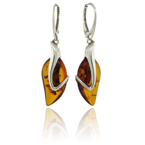 Sterling Silver and Amber Leaf Wrap Earrings
