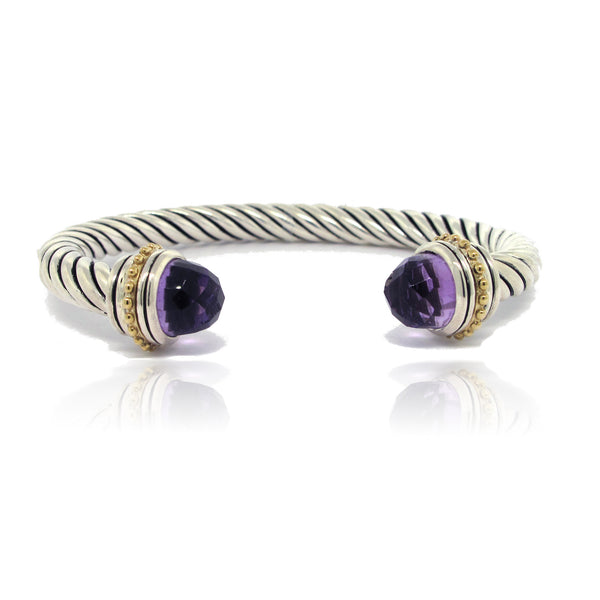 Silver and 14k Yellow Gold Amethyst Twist Cuff