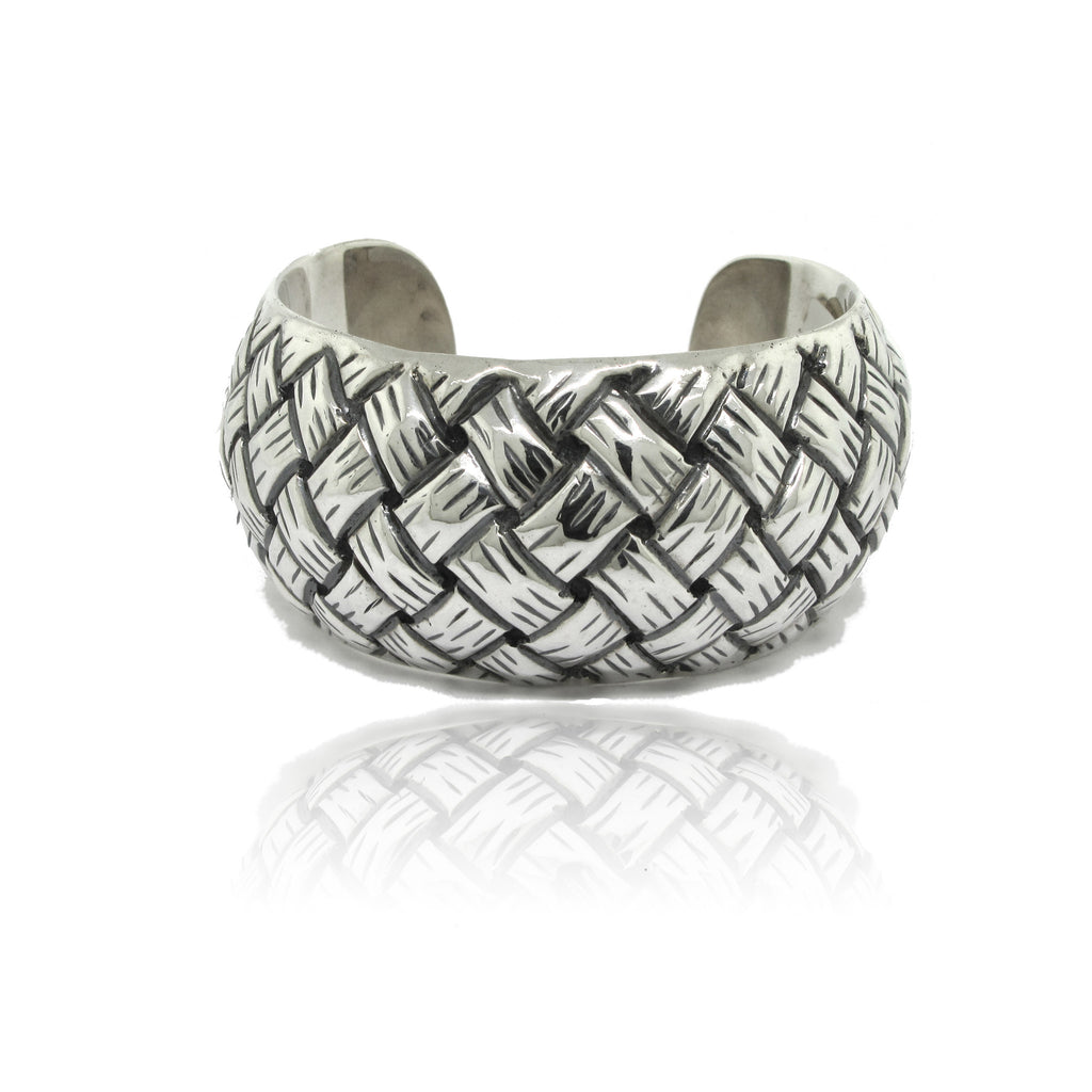 Sterling Silver Hollow Cuff Weave Bracelet