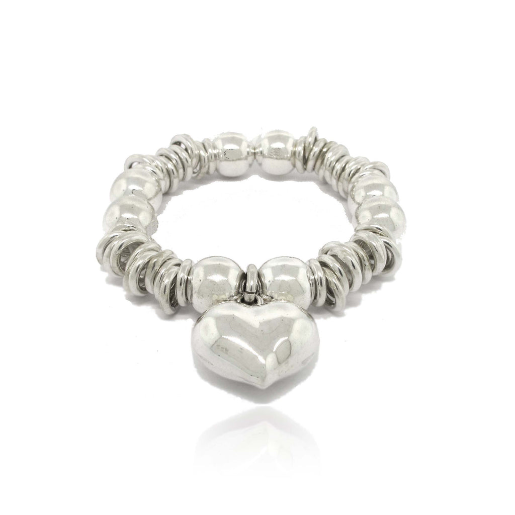 Sterling Silver Heart and Ball Bracelet