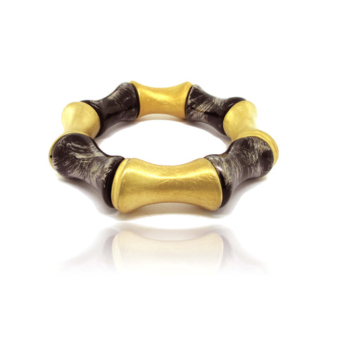 10k Yellow Gold Plated Silver and Ceramic Geometric Bracelet