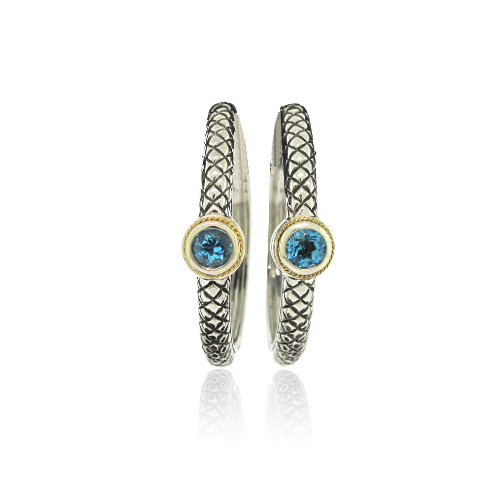 Sterling Silver and Topaz Hoop Earring