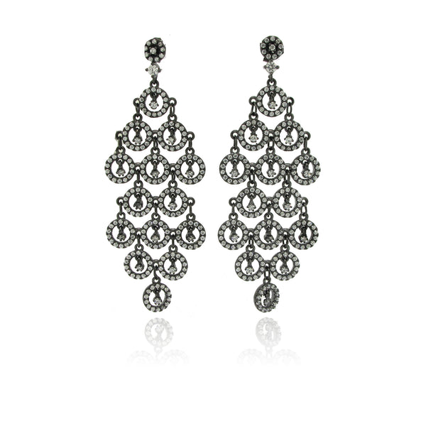Sterling Silver Rhodium Plated CZ Earrings