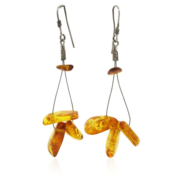 Sterling Silver and Amber Wire Earring