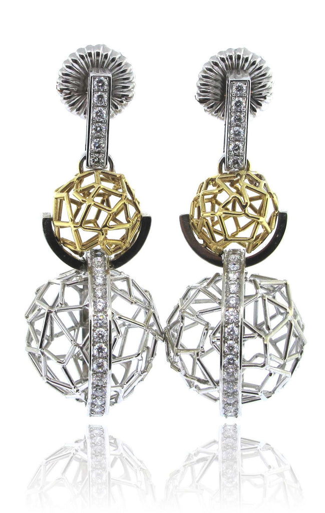 1. 14k White/Yellow Gold Double Ball Diamond Earrings